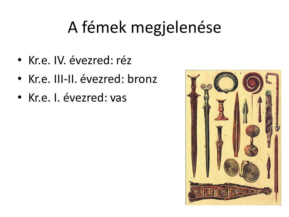 A fémek megjelenése Kr.e. IV. évezred: réz