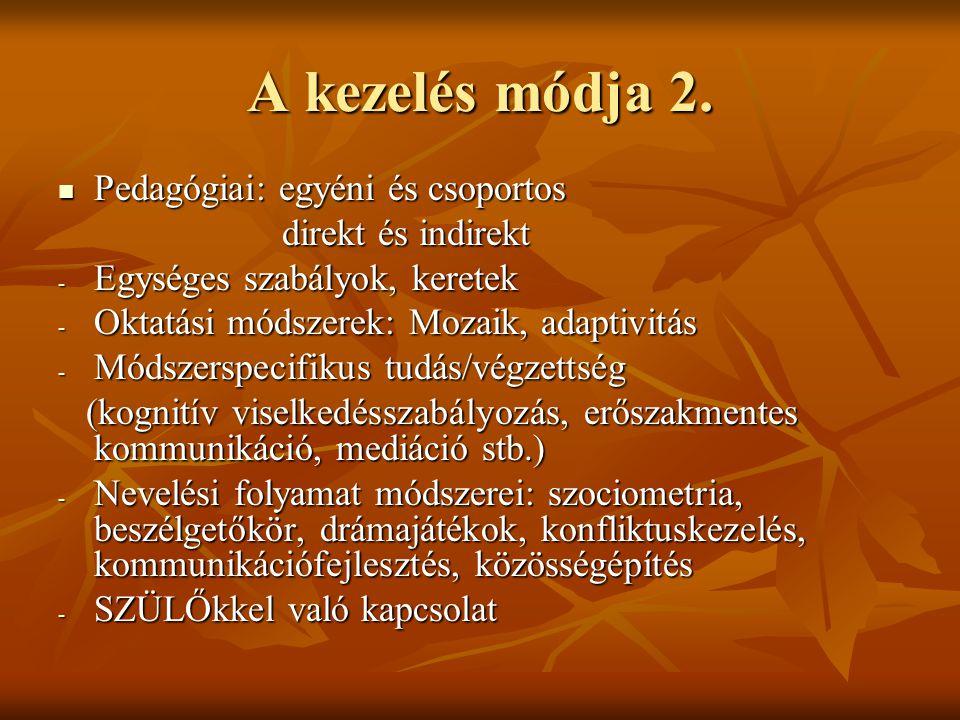 A kezelés módja 2. Pedagógiai: egyéni és csoportos direkt és indirekt