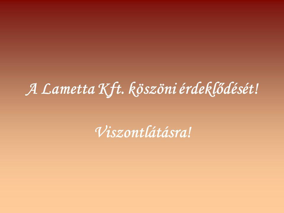 A Lametta Kft. köszöni érdeklődését!