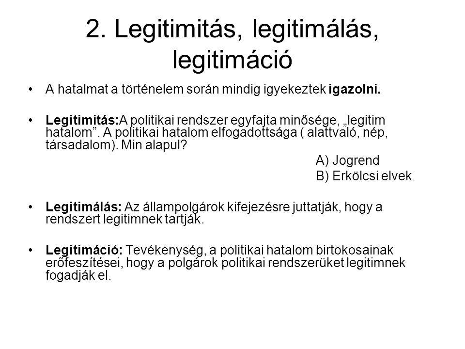 2. Legitimitás, legitimálás, legitimáció