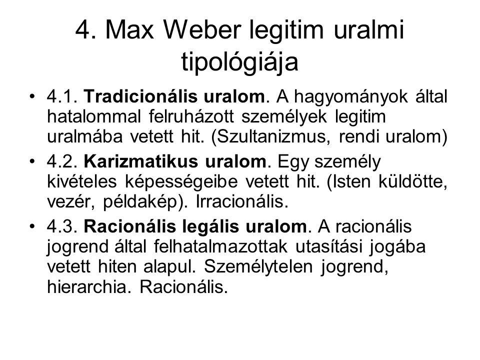 4. Max Weber legitim uralmi tipológiája