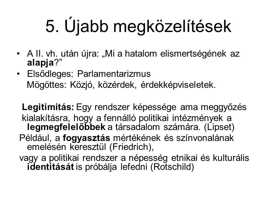 """5. Újabb megközelítések A II. vh. után újra: """"Mi a hatalom elismertségének az alapja Elsődleges: Parlamentarizmus."""