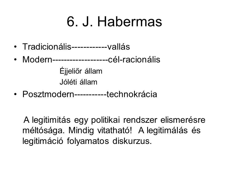 6. J. Habermas Tradicionális------------vallás
