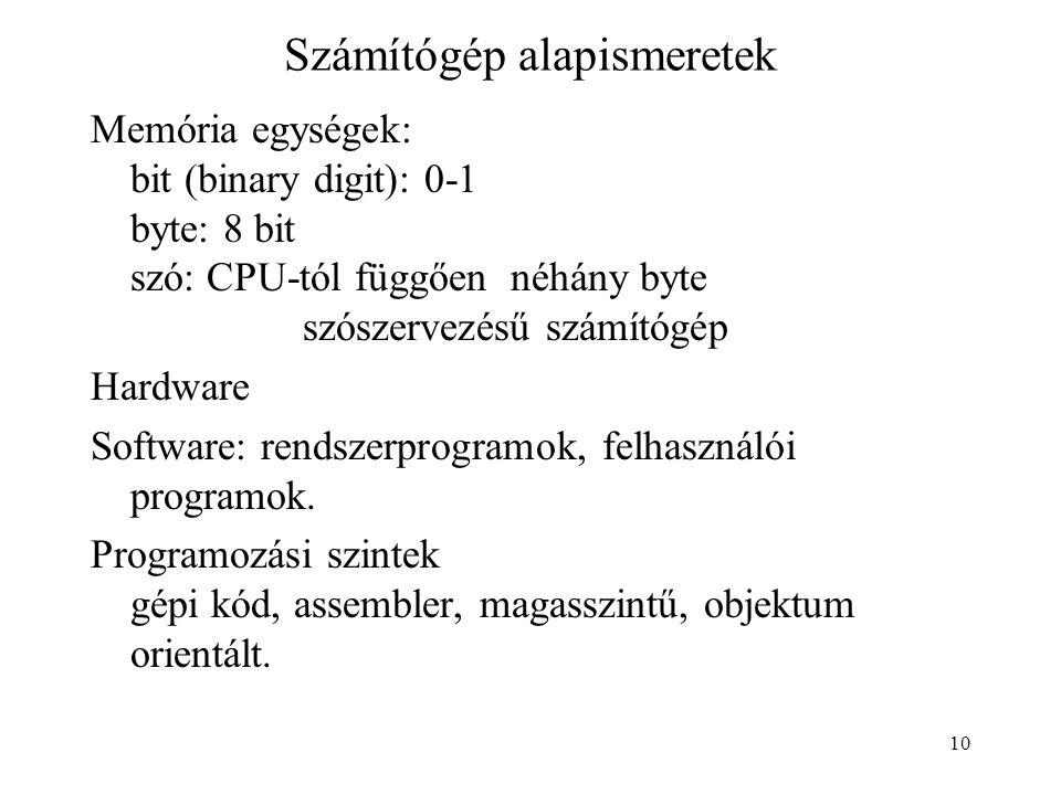 Számítógép alapismeretek