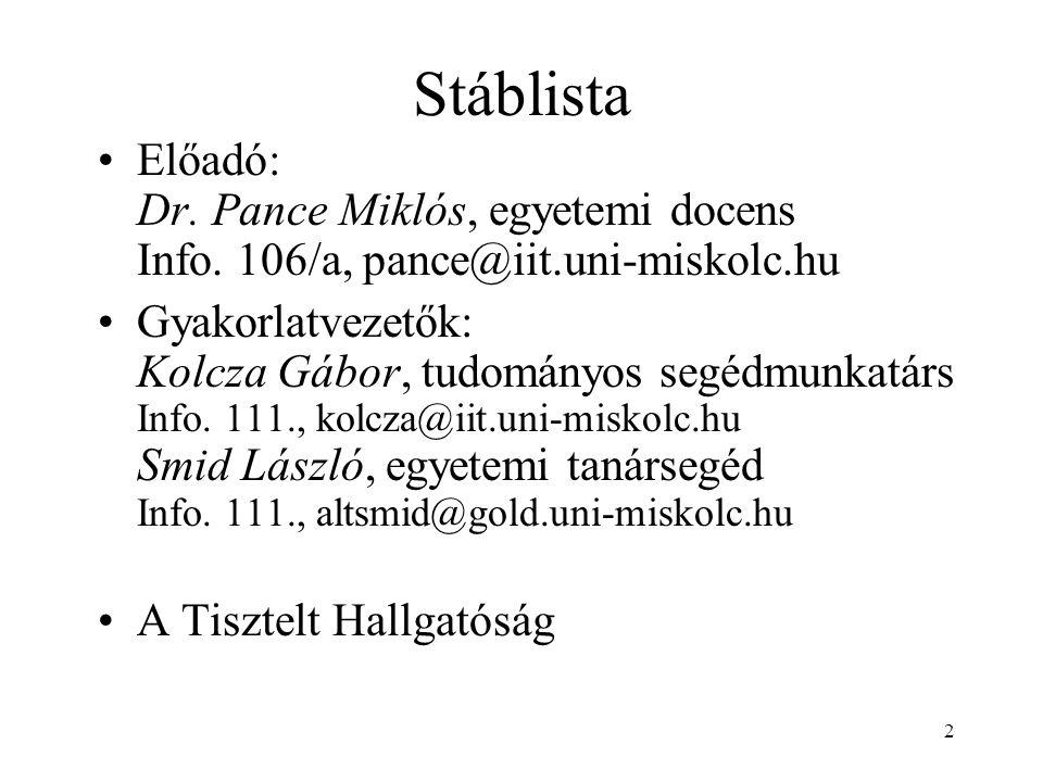 Stáblista Előadó: Dr. Pance Miklós, egyetemi docens Info. 106/a, pance@iit.uni-miskolc.hu.