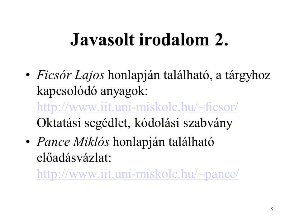 Javasolt irodalom 2.