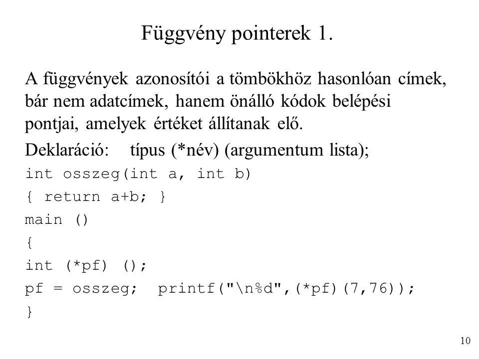 Függvény pointerek 1.