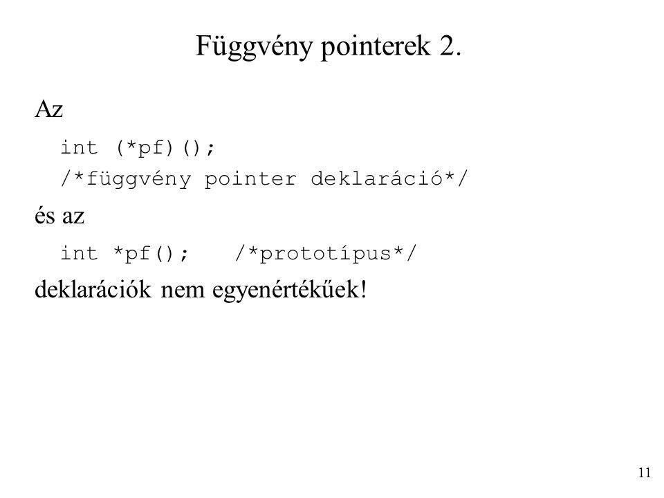 Függvény pointerek 2. Az int (*pf)(); és az int *pf(); /*prototípus*/
