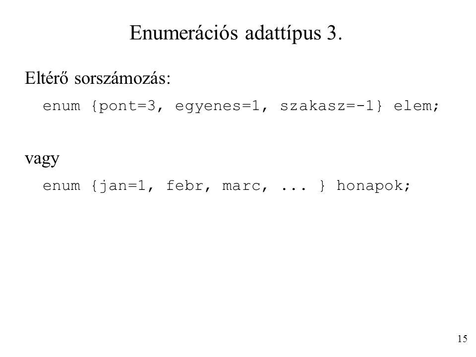 Enumerációs adattípus 3.