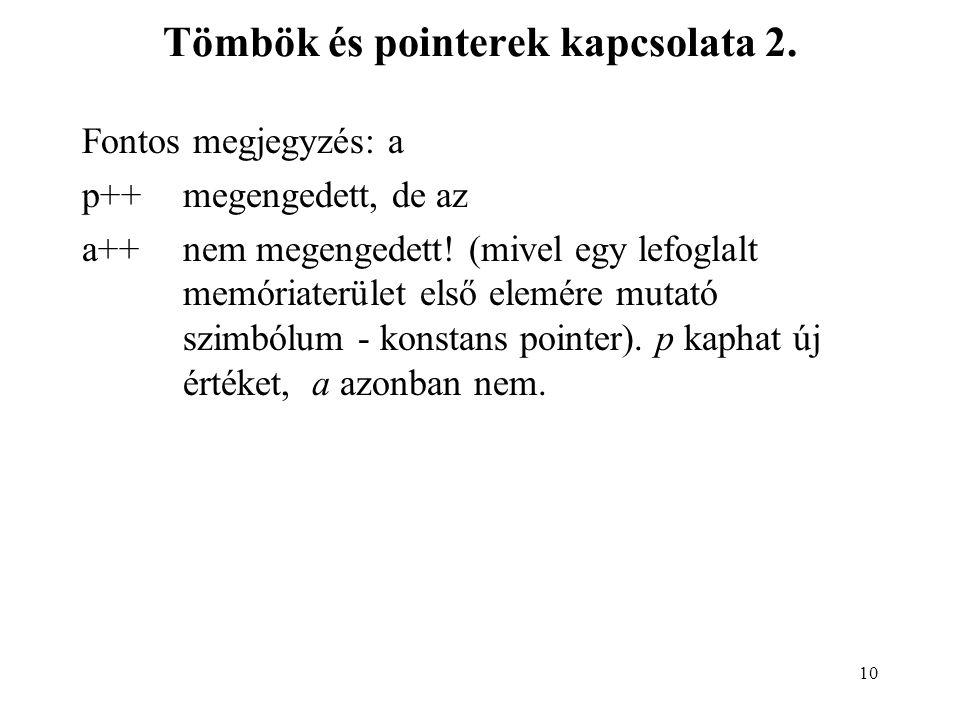 Tömbök és pointerek kapcsolata 2.
