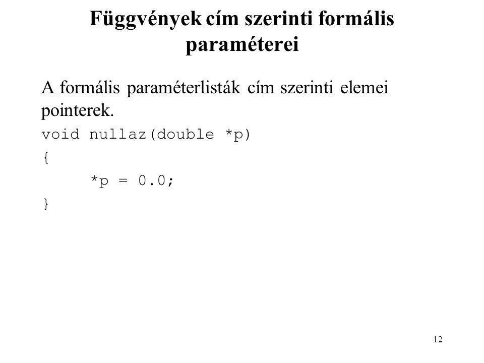 Függvények cím szerinti formális paraméterei