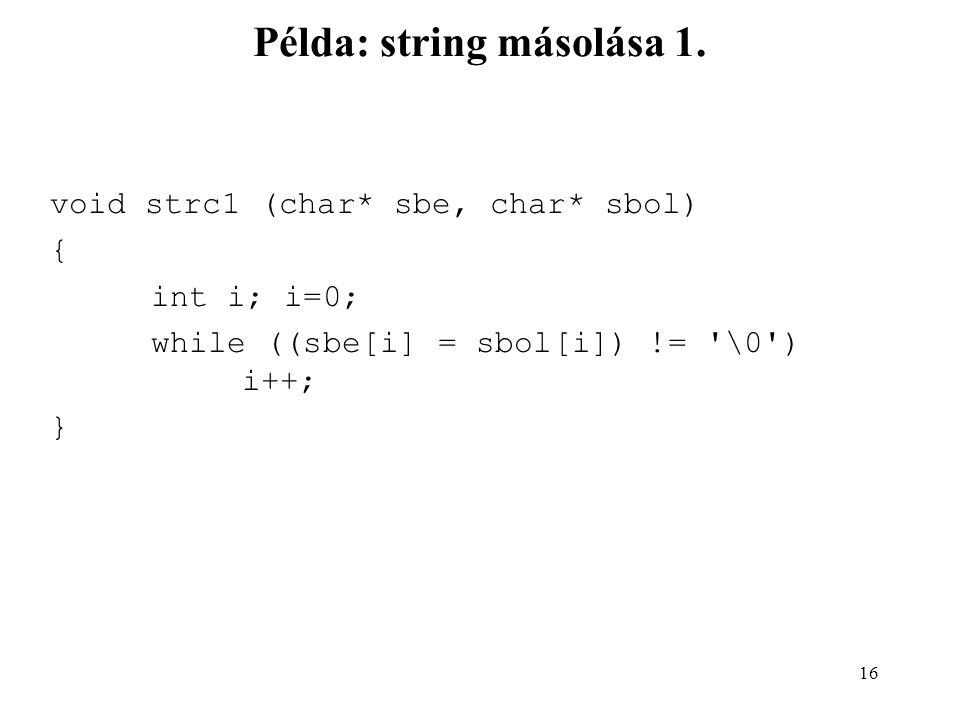 Példa: string másolása 1.