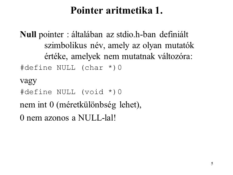 Pointer aritmetika 1.