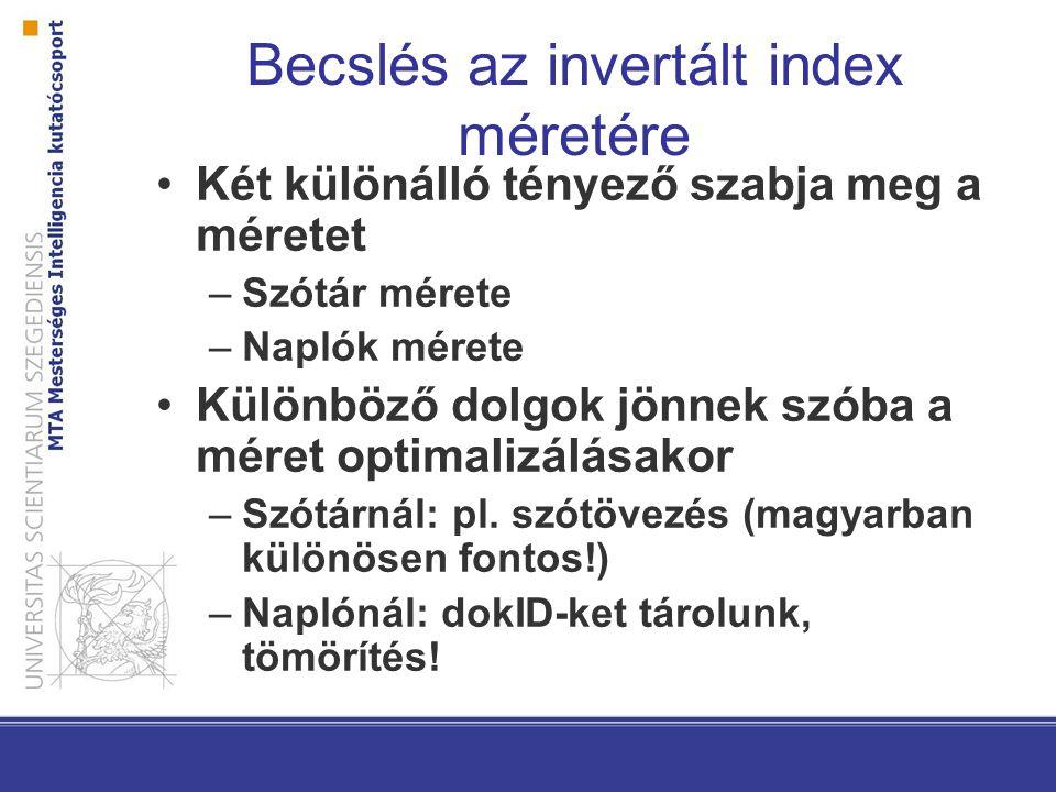 Becslés az invertált index méretére