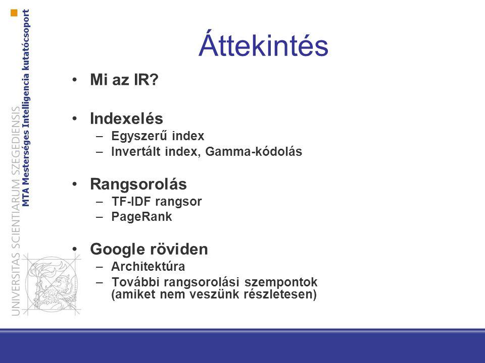 Áttekintés Mi az IR Indexelés Rangsorolás Google röviden
