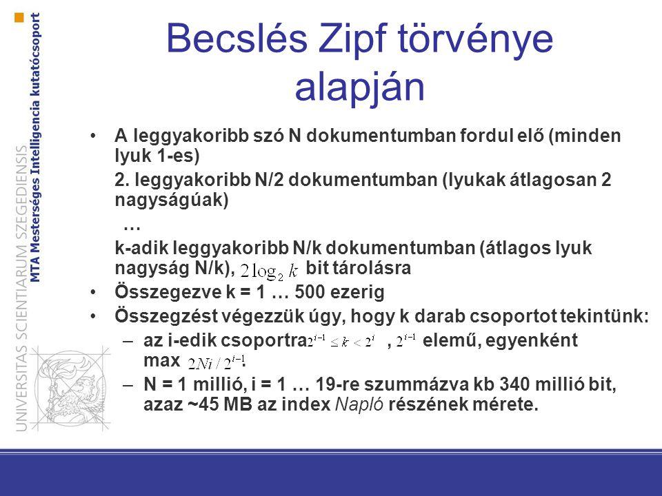 Becslés Zipf törvénye alapján