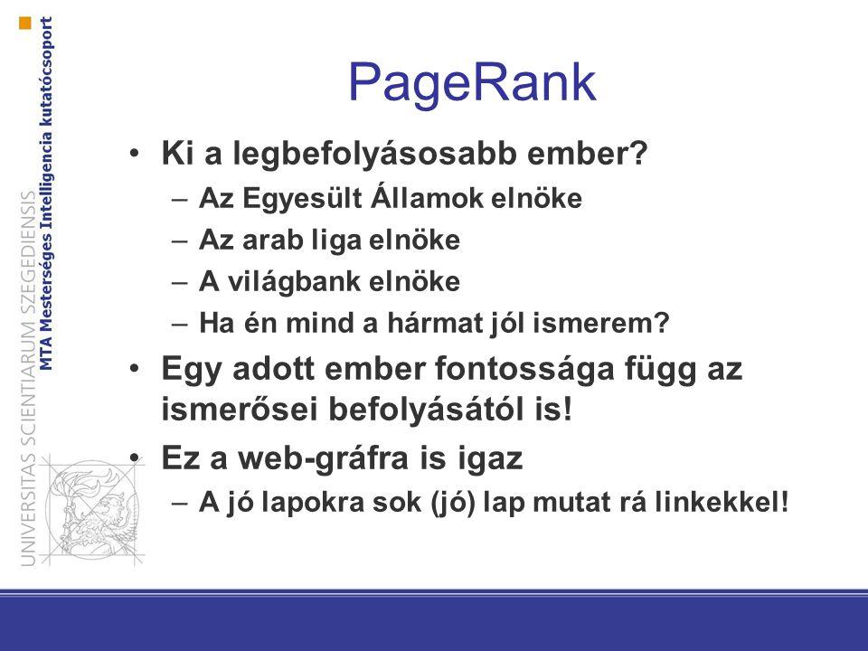 PageRank Ki a legbefolyásosabb ember