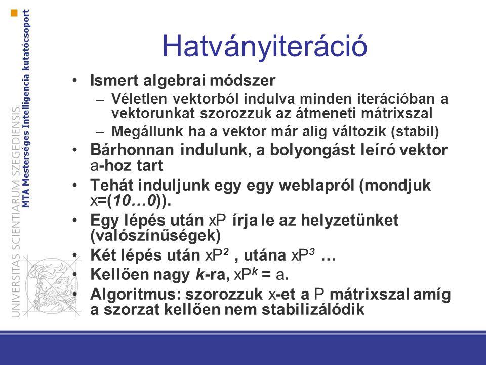 Hatványiteráció Ismert algebrai módszer