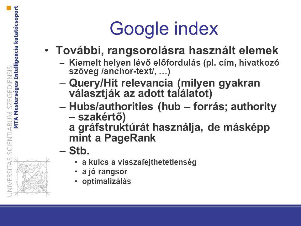 Google index További, rangsorolásra használt elemek