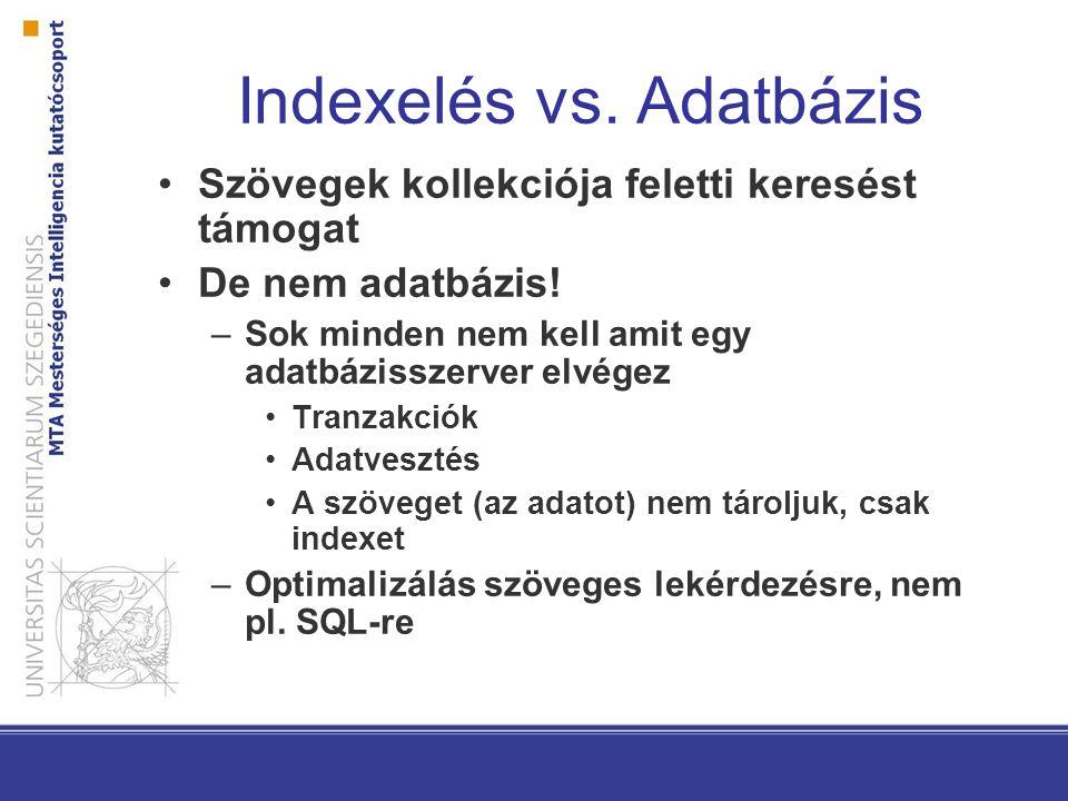 Indexelés vs. Adatbázis