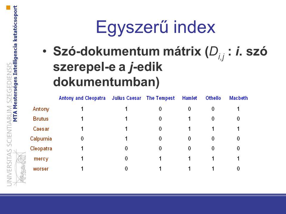 Egyszerű index Szó-dokumentum mátrix (Di,j : i. szó szerepel-e a j-edik dokumentumban)