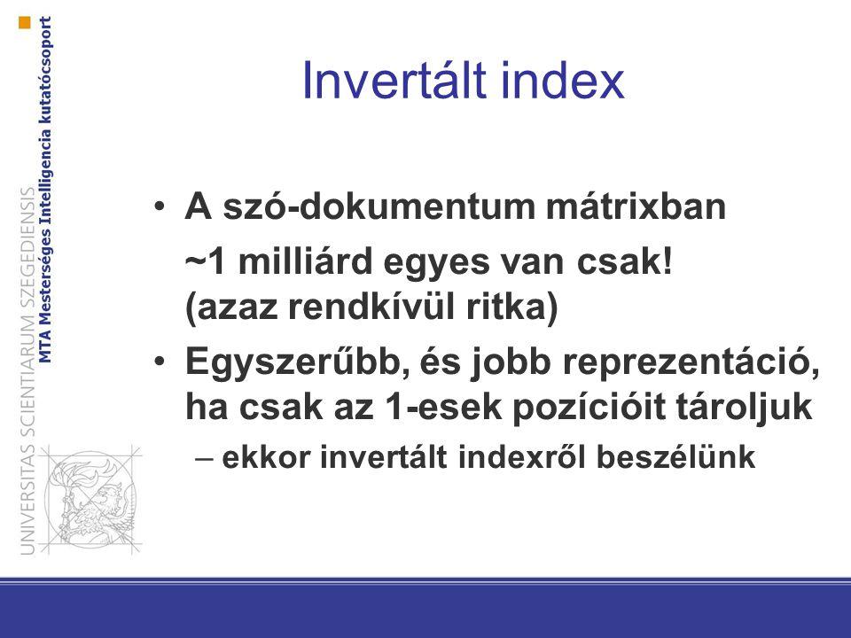 Invertált index A szó-dokumentum mátrixban
