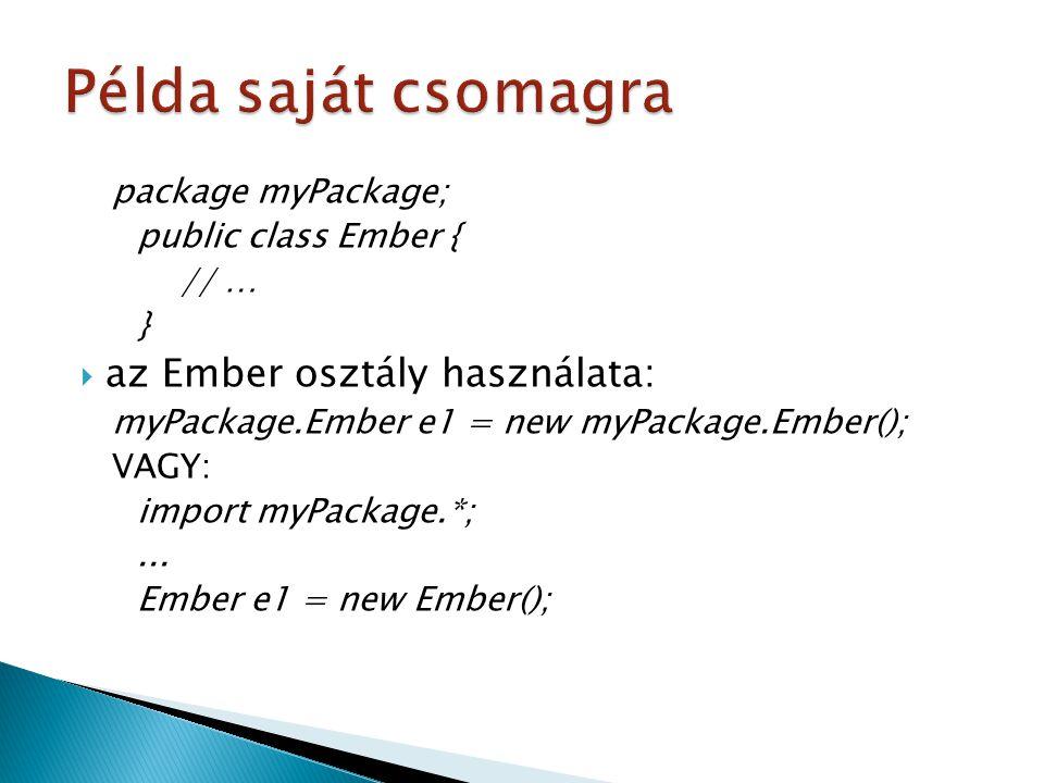 Példa saját csomagra az Ember osztály használata: package myPackage;