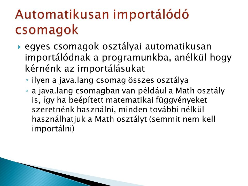 Automatikusan importálódó csomagok