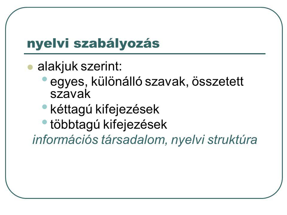 információs társadalom, nyelvi struktúra