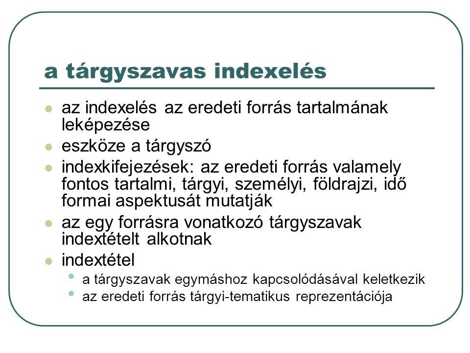 a tárgyszavas indexelés