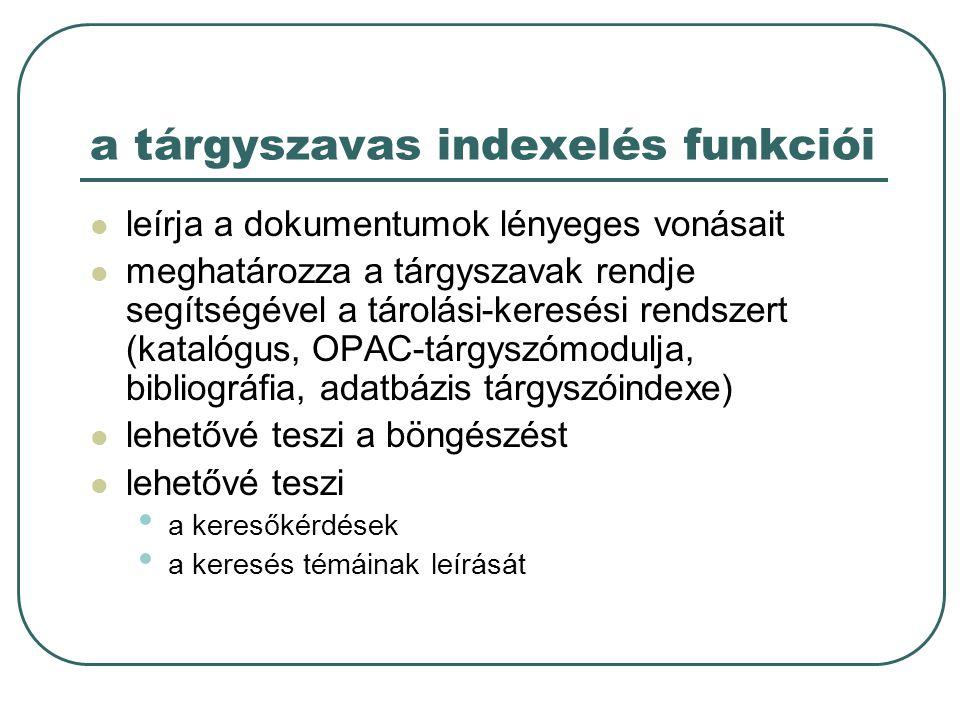 a tárgyszavas indexelés funkciói
