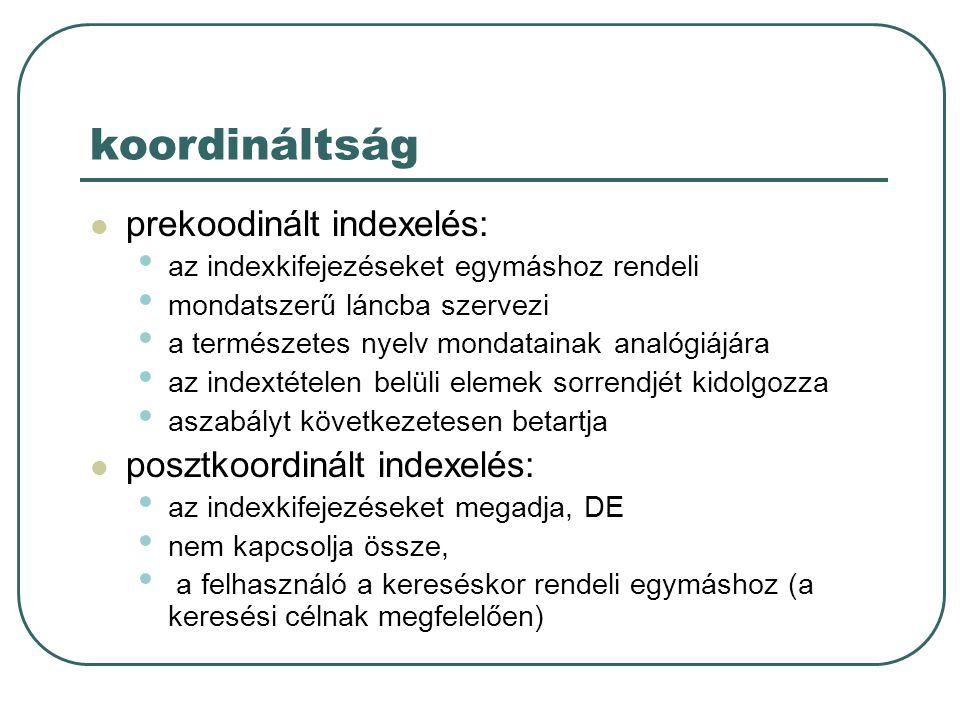 koordináltság prekoodinált indexelés: posztkoordinált indexelés: