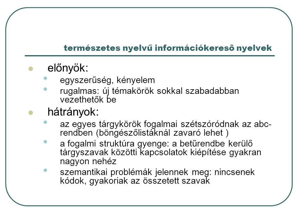 természetes nyelvű információkeresõ nyelvek