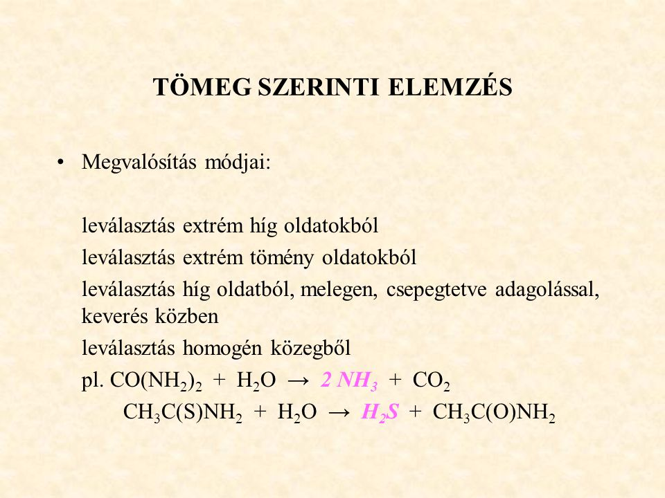 TÖMEG SZERINTI ELEMZÉS