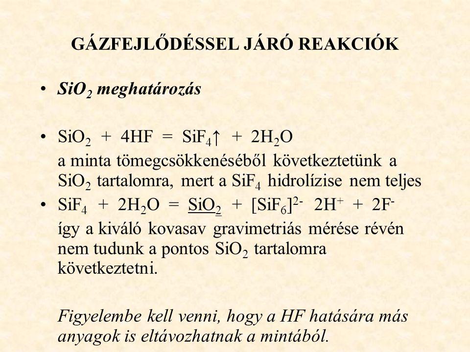 GÁZFEJLŐDÉSSEL JÁRÓ REAKCIÓK