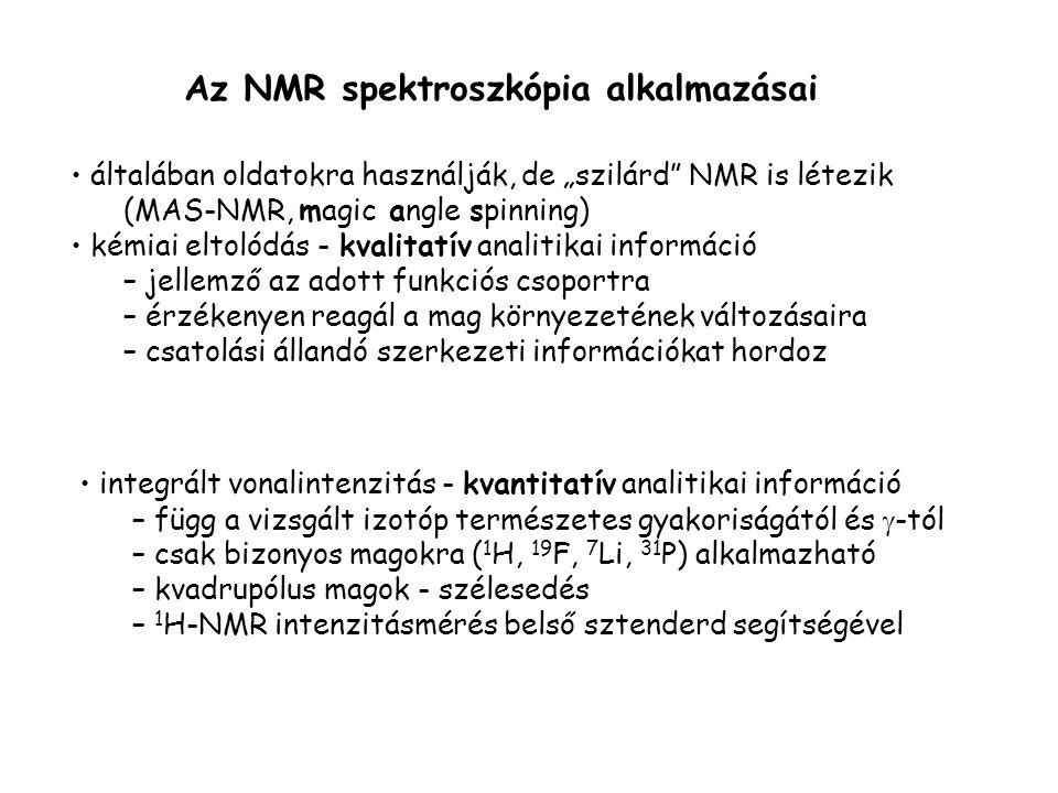 Az NMR spektroszkópia alkalmazásai