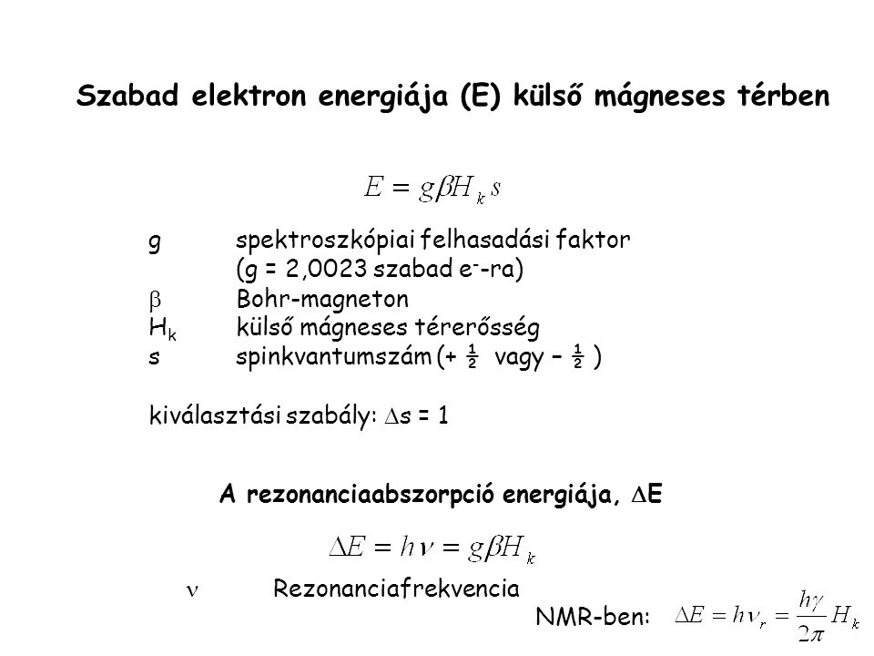 Szabad elektron energiája (E) külső mágneses térben