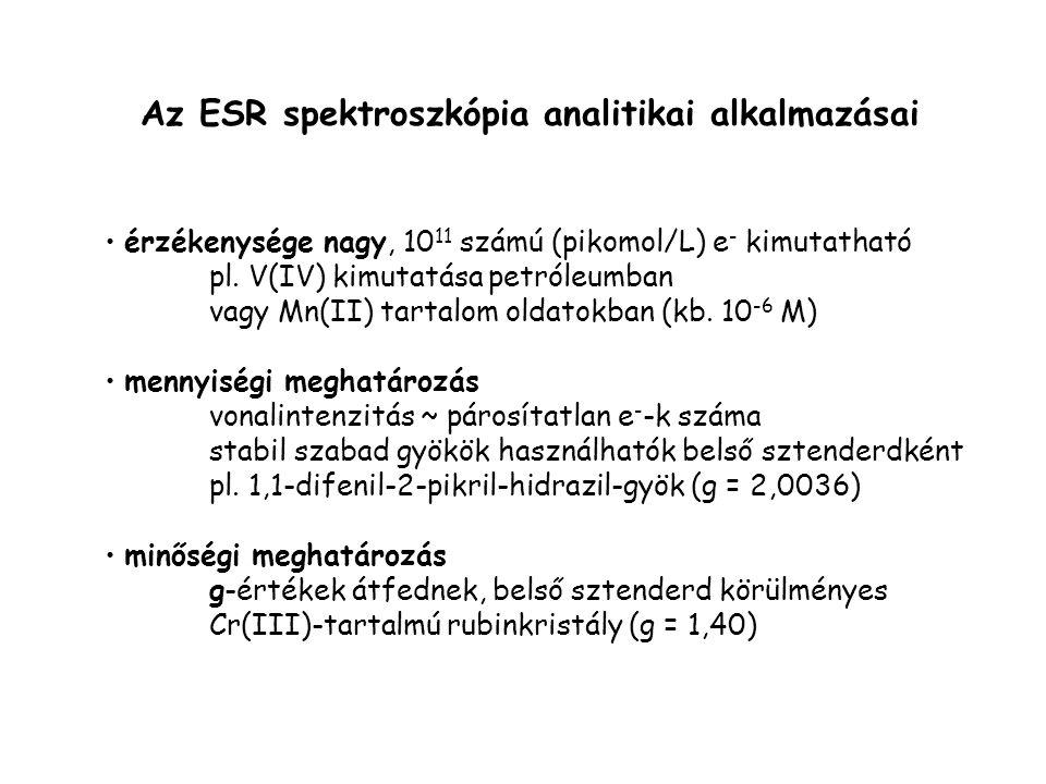 Az ESR spektroszkópia analitikai alkalmazásai