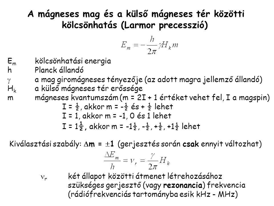 Kiválasztási szabály: m = 1 (gerjesztés során csak ennyit változhat)