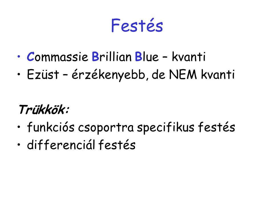 Festés Commassie Brillian Blue – kvanti