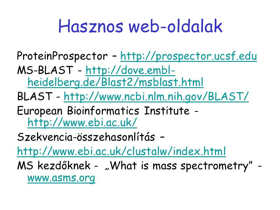 Hasznos web-oldalak ProteinProspector – http://prospector.ucsf.edu