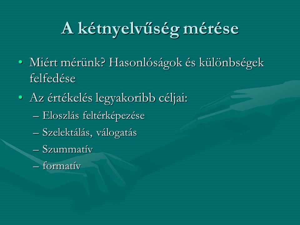 A kétnyelvűség mérése Miért mérünk Hasonlóságok és különbségek felfedése. Az értékelés legyakoribb céljai: