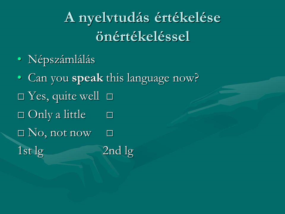 A nyelvtudás értékelése önértékeléssel