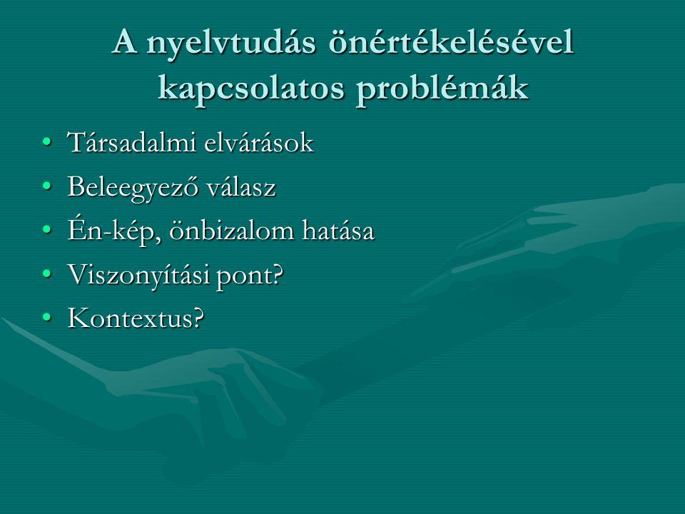 A nyelvtudás önértékelésével kapcsolatos problémák