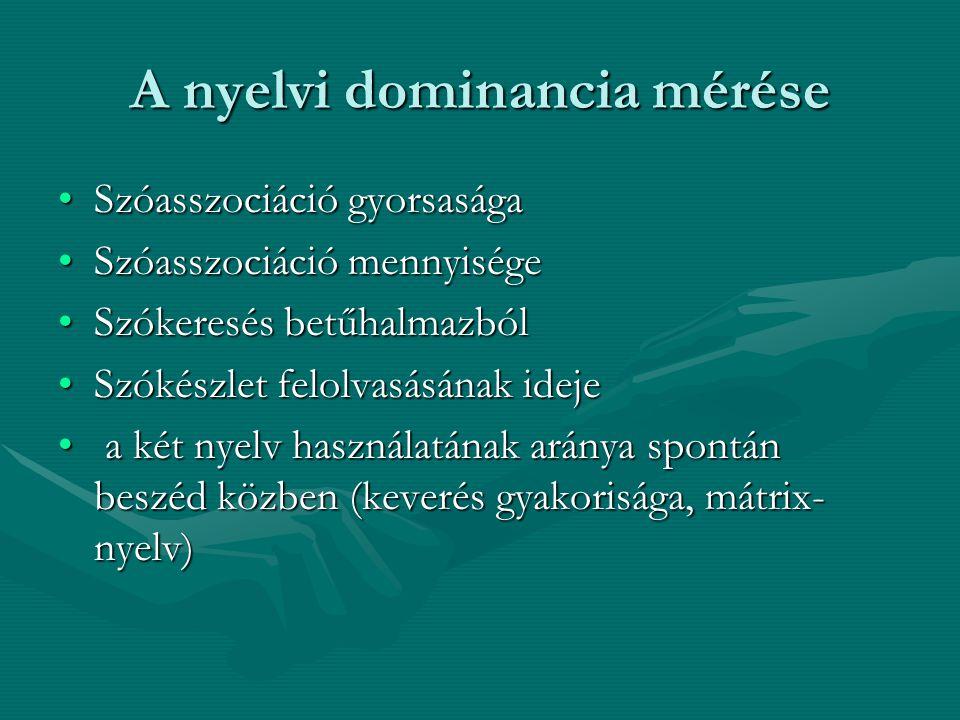 A nyelvi dominancia mérése