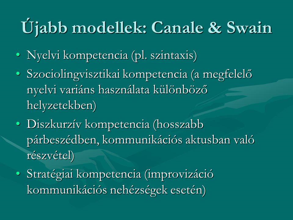 Újabb modellek: Canale & Swain
