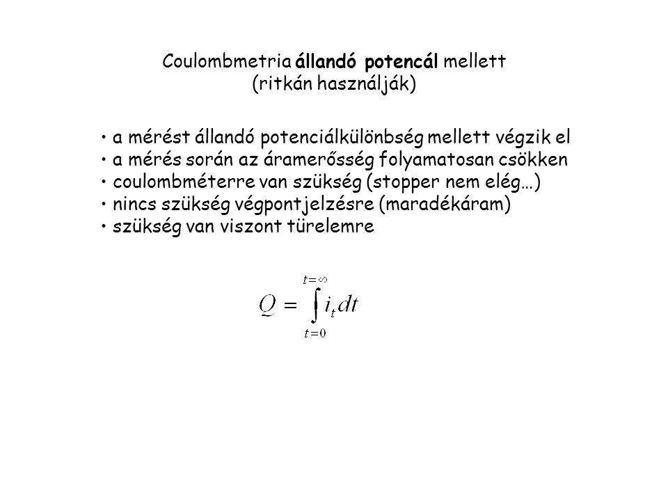 Coulombmetria állandó potencál mellett (ritkán használják)