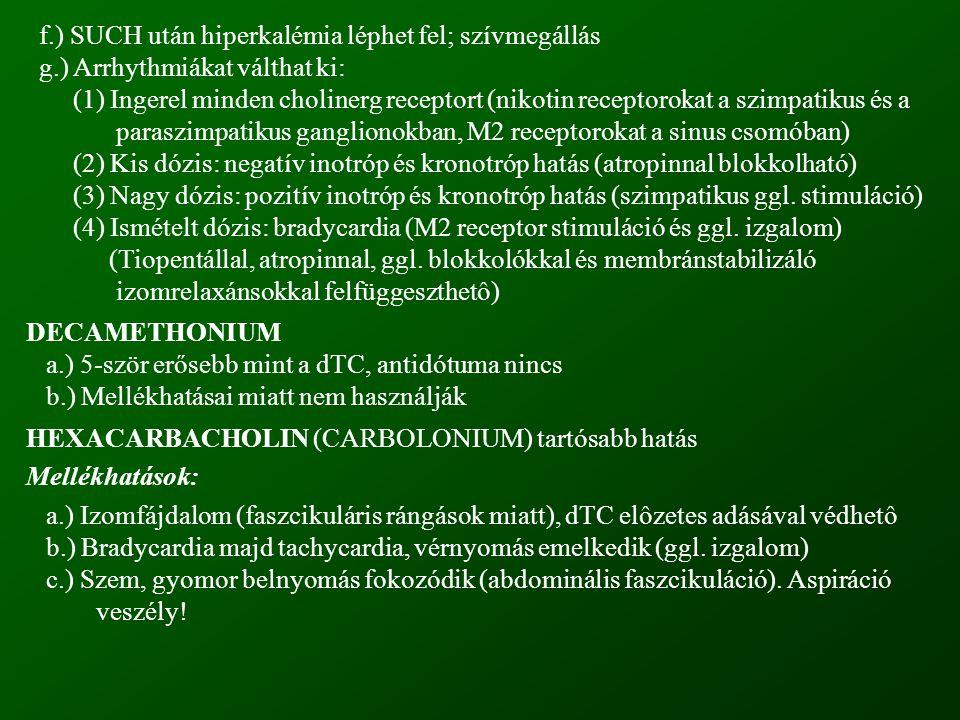 f.) SUCH után hiperkalémia léphet fel; szívmegállás