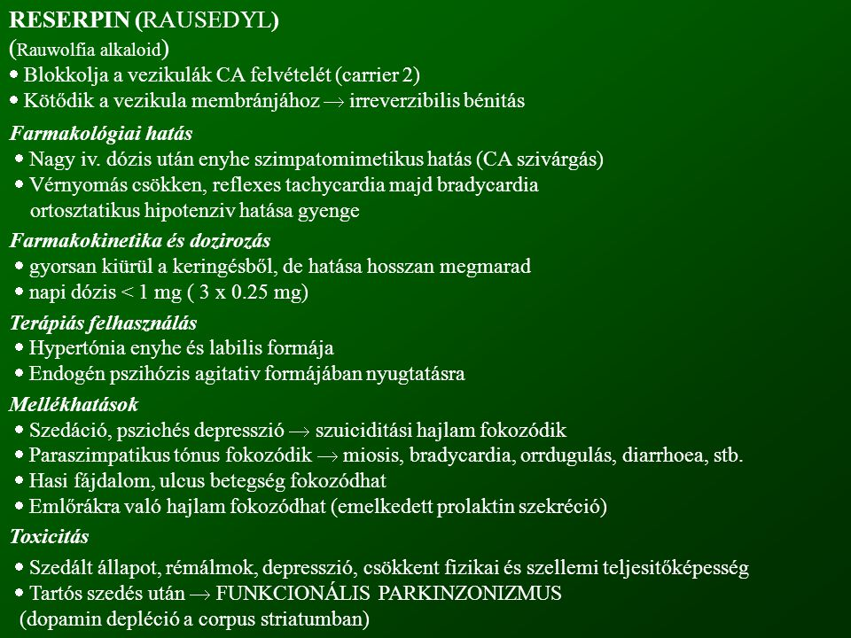 RESERPIN (RAUSEDYL) (Rauwolfia alkaloid)