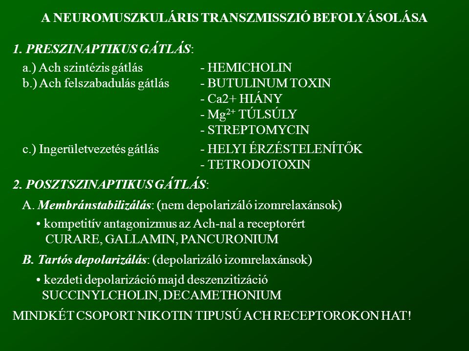 A NEUROMUSZKULÁRIS TRANSZMISSZIÓ BEFOLYÁSOLÁSA